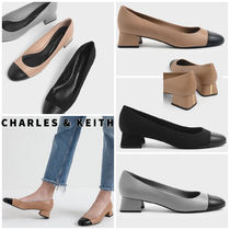 Charles&Keith Round Toe Casual Style Faux Fur Blended Fabrics Bi-color