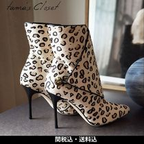 Manolo Blahnik Leopard Patterns Square Toe Casual Style Leather Pin Heels