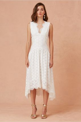 Dots A-line Sleeveless V-Neck Medium Lace Elegant Style