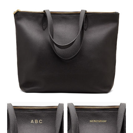 A4 Plain Leather Office Style Elegant Style Logo Totes