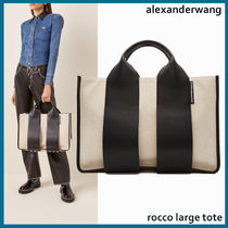 Alexander Wang A4 Plain Leather Office Style Elegant Style Totes