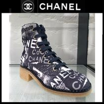 CHANEL ICON Plain Toe Lace-up Casual Style Block Heels Party Style