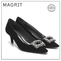 MAGRIT Plain Pin Heels Party Style With Jewels Elegant Style