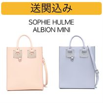 SOPHIE HULME Calfskin Blended Fabrics Leather Elegant Style Totes