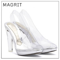 MAGRIT Open Toe Platform Casual Style Enamel Plain Party Style