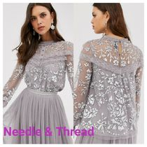 Needle&Thread Flower Patterns Chiffon Nylon Long Sleeves Party Style Lace