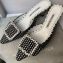 Manolo Blahnik Dots Casual Style Blended Fabrics Pin Heels Party Style