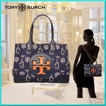 Tory Burch ELLA TOTE Flower Patterns Casual Style Nylon Office Style