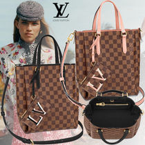 Louis Vuitton DAMIER Other Check Patterns Casual Style Canvas Blended Fabrics