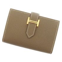 HERMES Bearn Plain Leather Card Holders