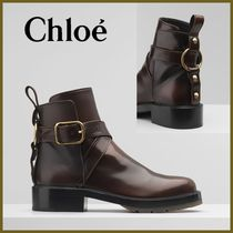 Chloe Round Toe Rubber Sole Casual Style Blended Fabrics Plain