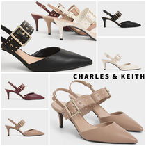 Charles&Keith Casual Style Faux Fur Studded Plain Pin Heels Party Style