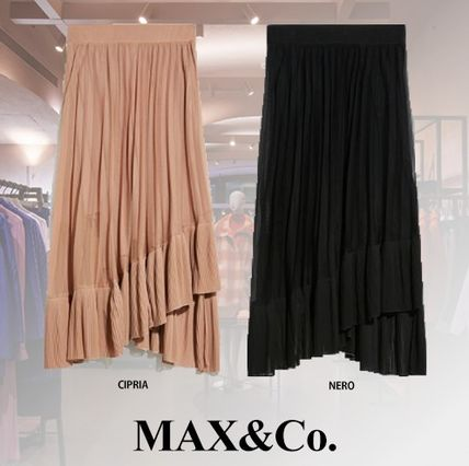 Casual Style Pleated Skirts Plain Medium Midi Skirts
