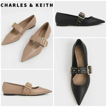 Charles&Keith Platform Casual Style Faux Fur Studded Plain Office Style