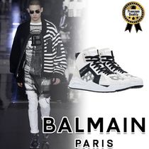 BALMAIN Street Style Bi-color Plain Leather Sneakers