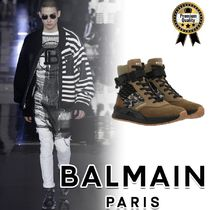 BALMAIN Camouflage Street Style Plain Leather Sneakers