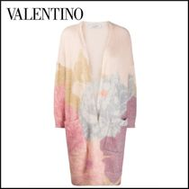 VALENTINO Flower Patterns Casual Style Wool Long Sleeves Long Angola
