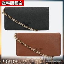 PRADA Casual Style Saffiano 3WAY Chain Plain Leather Office Style