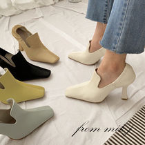 Square Toe Faux Fur Plain Pin Heels Party Style Office Style