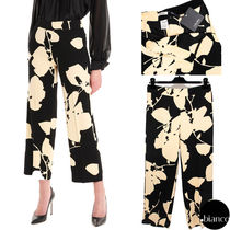 S Max Mara Flower Patterns Long Elegant Style Cropped & Capris Pants