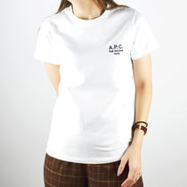 A.P.C. Crew Neck Street Style Short Sleeves Logo T-Shirts