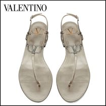 VALENTINO Open Toe Casual Style Leather Party Style With Jewels