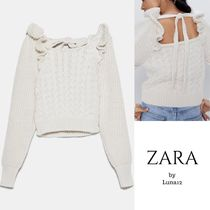 ZARA Cable Knit Casual Style Wool Long Sleeves Medium
