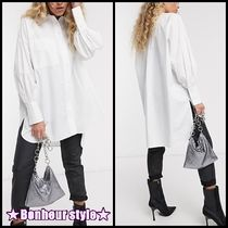 TOPSHOP Casual Style Puffed Sleeves Long Sleeves Plain Cotton Long