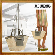 JACQUEMUS Blended Fabrics 2WAY Plain Handmade Crossbody Logo