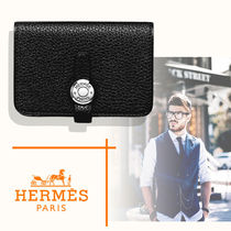 HERMES Dogon Unisex Calfskin Plain Bridal Logo Card Holders