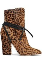 Sergio Rossi Leopard Patterns Leather Block Heels Ankle & Booties Boots