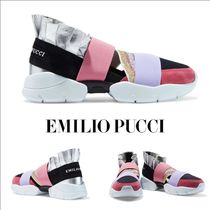Emilio Pucci Casual Style Suede Leather Low-Top Sneakers
