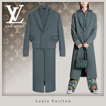 Louis Vuitton Wool Street Style Plain Long Co-ord Bridal Trench Coats
