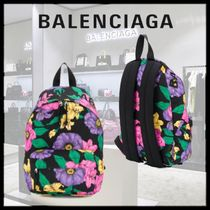 BALENCIAGA Flower Patterns Casual Style Backpacks