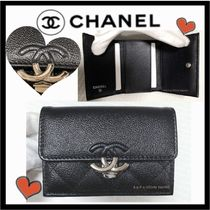 CHANEL MATELASSE Calfskin Plain Folding Wallets