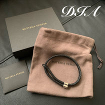BOTTEGA VENETA Leather Silver Logo Bracelets