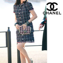 CHANEL Other Plaid Patterns Casual Style Tweed Shirt Dresses