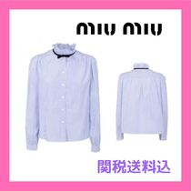 MiuMiu Stripes Casual Style Cotton Office Style Elegant Style