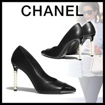 CHANEL Blended Fabrics Leather Pin Heels Elegant Style