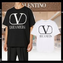 VALENTINO VLOGO Crew Neck Street Style Plain Cotton Short Sleeves Oversized