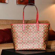 Coach Flower Patterns Casual Style Plain Leather Logo Totes