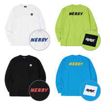 NERDY Crew Neck Unisex Street Style Long Sleeves Plain Cotton