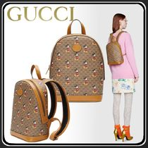 GUCCI Monogram Unisex Canvas Collaboration Backpacks