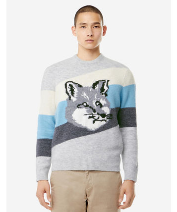 MAISON KITSUNE Sweaters Pullovers Unisex Wool Long Sleeves Other Animal Patterns 3