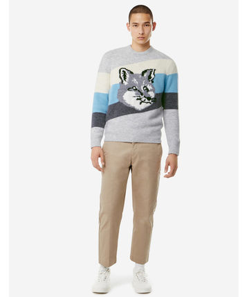 MAISON KITSUNE Sweaters Pullovers Unisex Wool Long Sleeves Other Animal Patterns 4