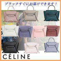 CELINE Belt Casual Style Calfskin 2WAY Plain Leather Office Style