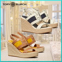 Tory Burch Casual Style Suede Leather Platform & Wedge Sandals