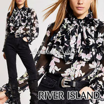 River Island Flower Patterns Long Sleeves Party Style Elegant Style