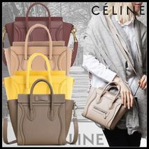 CELINE Casual Style Calfskin 2WAY Plain Leather Office Style