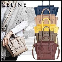 CELINE Luggage Casual Style Calfskin 2WAY Plain Leather Office Style